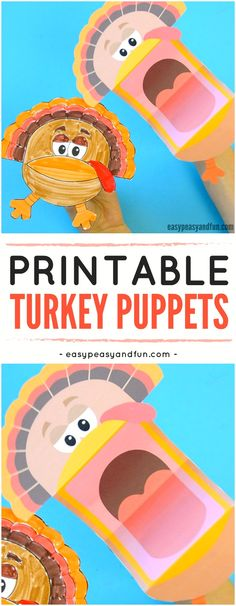Printable Turkey Puppets Craft for Kids. Super Fun Thanksgiving and Fall Activity for Kids. #Craftforkids #Thanksgivingcraftforkids #Printablepuppets