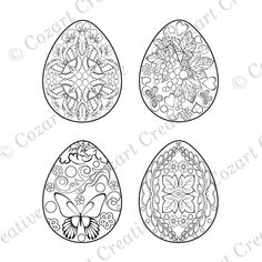 Easter Egg Coloring Page - 4 designs with flowers, butterflies, swirls. Easter Egg Coloring Pages, Adult Coloring Pages, Coloring Books, Easter Crafts For Adults, Russian Embroidery, Ukrainian Easter Eggs, Gel Pens, Colorful Pictures, Naturaleza