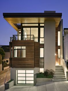 Architecture, Wonderful Modern House Architecture Features With Evening Ambience And Cool Light From Inside With Interesting Concrete And Wood External Walls: Excellent Modern Architecture Features
