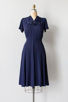 Vintage navy blue floral rosette dress from Adored Vintage 1940s Outfits, 1940s Dresses, Retro Outfits, Day Dresses, Vintage Dresses, Vintage Outfits, Summer Dresses, 1940s Fashion, Fashion Art
