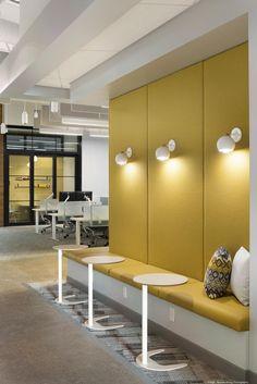 Marvin Windows' Eagan space is Nordic-meets-Northwoods - Minneapolis / St. Corporate Office Design, Corporate Interiors, Office Interiors, Corporate Offices, Cafe Interior, Office Interior Design, Commercial Design, Commercial Interiors, Cool Office Space