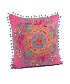 Karma Living Botanical Crewel Embroidered Square Pillows