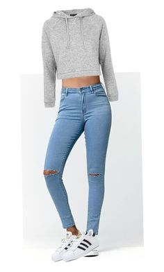 """me"" by brunaovo ❤ liked on Polyvore featuring Bullhead Denim Co., Topshop and adidas"