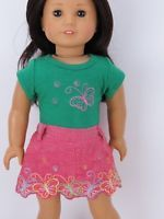 """Doll Clothes AG 18"""" Skirt Pink Embroidered Top Fits American Girl 18 Inch Dolls"""