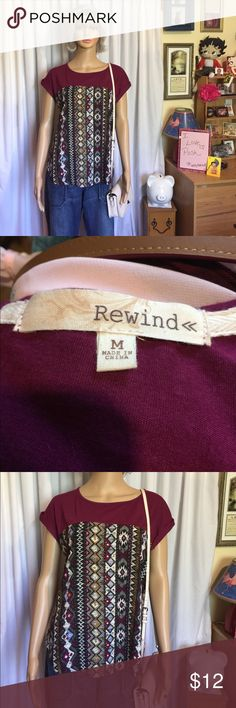 Rewind top size M 🎀 Cute top size M by Rewind, has 4 buttons in back and little capped sleeves 🎀 Please ask any questions always happy to answer and Happy Poshing 😊💖🎀 Rewind Tops
