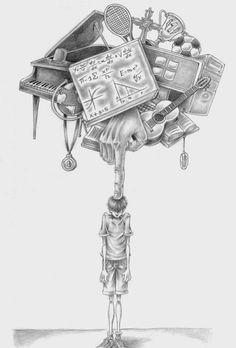 Satirische Illustrationen von Al Margen - Satire - Caricature Dark Art Drawings, Beautiful Drawings, Art Drawings Sketches, Animal Drawings, Drawings With Meaning, Art Du Croquis, Illustrator, Satirical Illustrations, Dark Art Illustrations