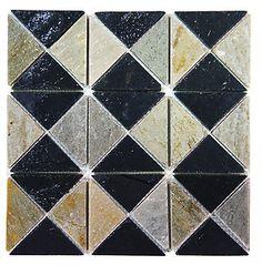"Really a kinda cool backsplash! Love that it's grey slate! 12"" x 12"" Black Brown Grey Slate Triangle Square Mosaic Backsplash Tile Kitchen | eBay"