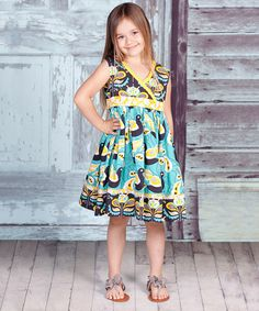 Look at this #zulilyfind! Teal & Yellow Lilac Abbey Dress - Infant, Toddler & Girls by Jelly the Pug #zulilyfinds