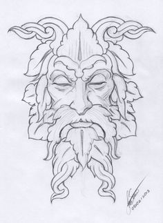 """Loving History and Folklore, I've always wanted to paint a """"green man"""". The Green Man is a mystical figure found as ornament on many buildings Wood Burning Stencils, Wood Burning Crafts, Wood Burning Art, Wood Burning Projects, Pyrography Patterns, Wood Carving Patterns, Man Sketch, Illustrator, Celtic Art"""