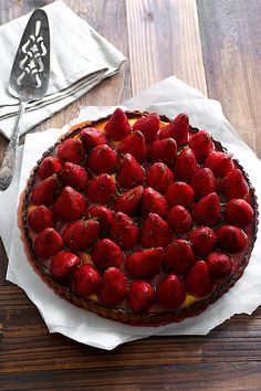 Basil Strawberry Lime Curd Tart, a refreshing summer dessert with plump, in season berries!
