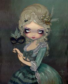 Marie Antoinette Masquerade gothic fantasy fairy Rococo big eye lowbrow art print by Jasmine Becket-Griffith 12x16 BIG. $29.99, via Etsy.