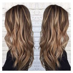 Blonde highlights on medium brown hair. By @sarah_peck... ❤ liked on Polyvore featuring beauty products, haircare, hair and beauty