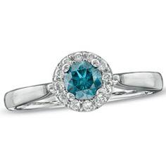 1/2 CT. T.W. Enhanced Blue and White Diamond Frame Ring in 14K White Gold