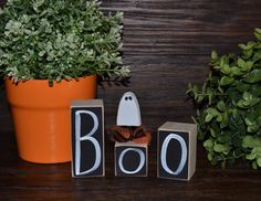 BOO Halloween Block Set Wood Block Love Set home decor primitive block gift holiday wood sign Halloween Shelf Sitter Decor Ghost