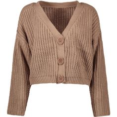 V Neck Chunky Cardigan Khaki ($26) ❤ liked on Polyvore featuring tops, cardigans, v-neck cardigan, chunky cardigan, brown top, khaki top and khaki cardigan