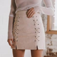 Simplee Autumn lace up leather suede pencil skirt Winter 2017 cross high waist skirt Zipper split bodycon short skirts womens - Outfits For Days Suede Pencil Skirt, Suede Skirt, Faux Leather Skirt, Suede Leather, Beige Skirt, Leather Skirts, Outfit Online, Look Fashion, Womens Fashion