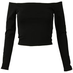 Choies Black Off Shoulder Long Sleeve Cropped T-shirt (€14) ❤ liked on Polyvore featuring tops, shirts, crop tops, blusas, black, shirt top, off the shoulder shirts, off the shoulder long sleeve top, shirt crop top and off the shoulder crop top