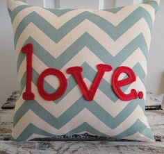 Love.  Turquoise and Red Chevron Valentine Pillow. $34.95, via Etsy.