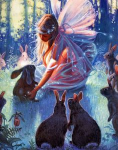 Fairy Magic - Beautiful!  Bunnies and fairies.