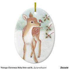 Vintage Christmas Baby Deer and Bird Ceramic Ornament