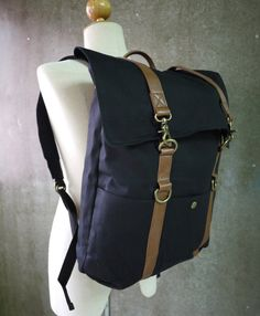 Black Cotton Canvas Men Women Backpack With Padded by Cozibag