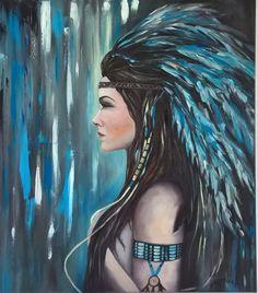 "obraz olejny "" Indianka"" 70X80 - weronika Skuza malarstwo"