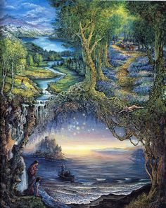 I'm stepping onto new shores, breathing invigorating air, holding God's hand [quote by DJG]…. [ART by Josephine Wall]