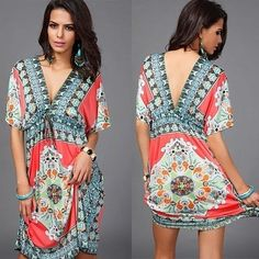 Add some flair and sophistication to your wardrobe this season with a casual boho-inspired summer dress. Made from super-lightweight and breathable polyester, it feels luxurious and oh-so-comfortable against your skin. Featuring an open cut V-neckline design and short sleeves, it's perfect for everyday wear -- and weekend getaways!Available in one size:Bust fits up to 36 inchesShoulders fits up to 18 inchesLength fits up to 25 inchesWaist fits up to 42 inchesHips fits up to 44...