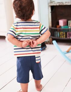 When outfitting is this easy, there's more time for adventures together. The only choice you need to make with this fun T-shirt and shorts play set is between sweet stripes or charming animal appliqués and prints. Either way, they're made from soft, hard-wearing cotton that's perfect for little crawlers.