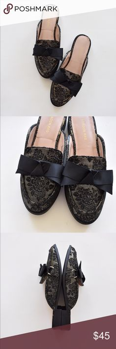 ‼️SALE‼️ Embroidered Design Bow Slip On Flat Mule So chic, comfy and on trend. Perfect for work or a night out. Shoes Flats & Loafers