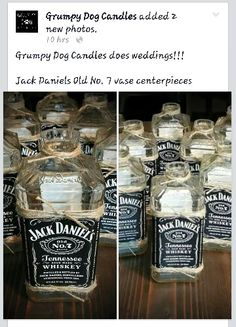 Jack Daniels Old No. 7 vase centerpieces for an upcoming wedding. GDC does weddings!!!!