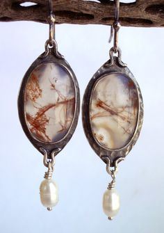 Moss Agate and Freshwater Pearls, Bezel Set, Sterling Silver Earrings