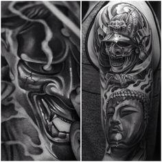 Realistic Samurai, Hannya and Buddha tattoos. Samurai Maske Tattoo, Samurai Tattoo Sleeve, Kabuto Samurai, Samurai Helmet, Samurai Warrior, Cloud Tattoos, Jj Tattoos, Tatoos, Maori Tattoos