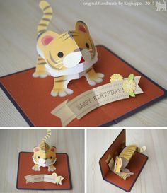 pop-up birthdaycard [Tiger] original handmade by Kagisippo.