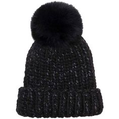 Eugenia Kim Women's Rain Wool Fox Fur Beanie - Black ($139) ❤ liked on Polyvore featuring accessories, hats, black, wool brim hat, wool hat, pompom hat, foldable hat and brimmed beanie