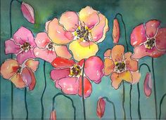 Watercolor Poppies, Pen And Watercolor, Watercolour Painting, Painting & Drawing, Watercolors, Paint Paint, Watercolor Pictures, Silk Painting, Flower Art