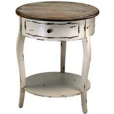 Cyan Design Abelard Side Table in Distressed White & Gray Finish Round End Tables, End Tables For Sale, Round Accent Table, End Tables With Storage, Accent Tables, Round Dining, Plywood Furniture, Design Furniture, Table Furniture