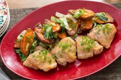 Miso-Honey Roasted Chicken with Sesame Bok Choy & Baby Sweet Potatoes. Visit https://www.blueapron.com/ to receive the ingredients.