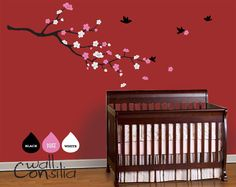 "Baby Nursery Tree Wall Decal Wall Sticker - Blossom Branch with Birds - Wall Sticker - Cherry Blossom Wall Decals - Large: approx 58"" x 30"". $55.00, via Etsy."