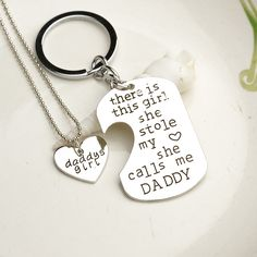 Items similar to Father Daughter Gift SET - MINI Dogtag Keychain Necklace - Father's Day Gift - She Calls Me Daddy - Daddy's Girl on Etsy Daddy King, Daddy Daughter, Dad And Daughter Gifts, Husband, Grabar Metal, She Call Me Daddy, Tattoos For Daughters, Daughter Tattoos, Girls Necklaces