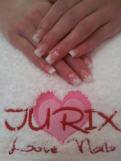 French Manicure with Sparkles and Hearts