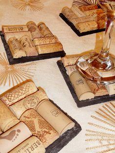Slate Wine Cork Coaster Set
