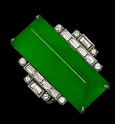 An Art Deco jadeite and diamond ring. @Deidra Brocké Wallace