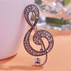 2015 Fashion Vintage Music Note Brooches Hat Accessories Scarf Clip Antique Silver Plated Rhinestone Crystal Women Broche Broach