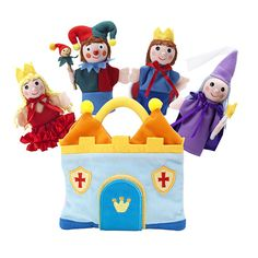 Marionetas de dedo medievales de tela y madera Puppet Set Camelot