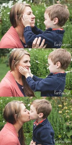Mom and son poses
