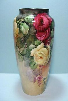 Large Limoges Hand Painted Vase With Beautiful Red, Yellow And Pink Roses - Green Mark P L Limoges France (mark used by the La Porcelaine factory from 1905 to the late Rose Vase, Flower Vases, Painted Vases, Hand Painted, Porcelain Ceramics, Painted Porcelain, China Porcelain, Porcelain Tiles, Porcelain Jewelry