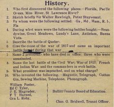 STRANGE EDUCATION ITEMS - 1912 TEST FOR 8TH GRADE - HISTORY - HOW WOULD YOU DO?
