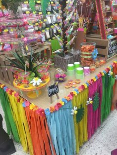 aloha party What a bright and fun party full of ideas and inspiration! I love the grass skir. Kids Luau Parties, Luau Party Games, Luau Theme Party, Hawaiian Party Decorations, Tiki Party, Summer Parties, Tea Parties, Luau Table Decorations, Hawaiin Theme Party