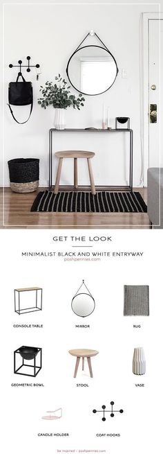 absolutely stunning minimalist black and white entryway is so scandi-chic! Learn what you need to recreate this space on a small budget! All you need are 8 products to get your hallway or entry space looking top notch just like this one! Black And White Hallway, Black And White Interior, Black White Decor, Black And White Living Room Decor, Simple Interior, White White, Interior Styling, Decoration Hall, Hall Way Decor